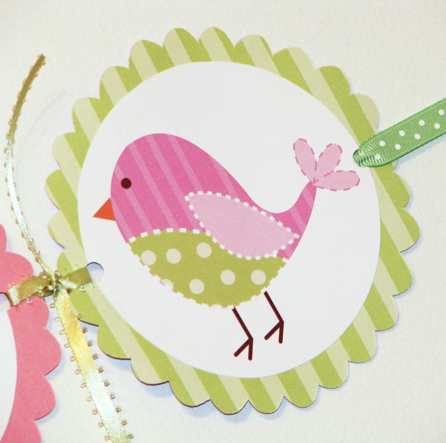 Its A Girl Baby Shower Banner Cute Pink and Green Birds