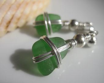 Sea Glass Earrings - Cross Tide - Sea Glass Jewelry Sterling Dangle Earrings