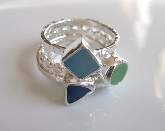 Three Sterling Silver and Sea Glass Textured Stacking Rings - Made to Order