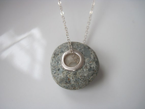 Rock n' Roll - Large Sea Stone Hand Lined Bead in Fine Silver - Liliana Designs