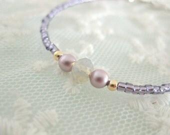 Unique beaded friendship bracelet. Layering bracelet. Sweet purple bracelet.