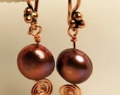 Wine and Copper Spiral Earrings-PAY IT FORWARD ITEM