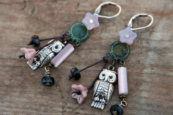 Aged Patina Brass and Czech Glass Earrings Night Owl Charm Earrings