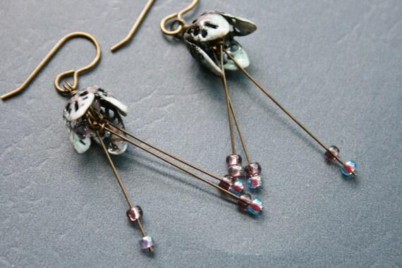 Enameled Earrings Tulip Bell Earrings