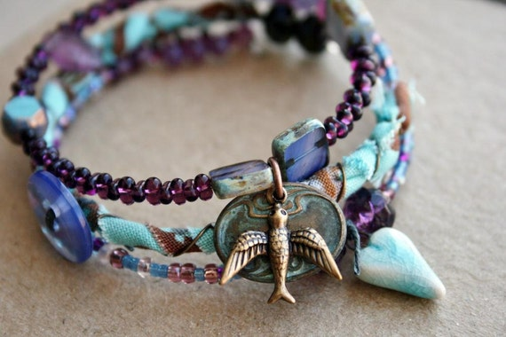 HOLIDAY SALE Purple and Teal Bracelet Eclectic Style