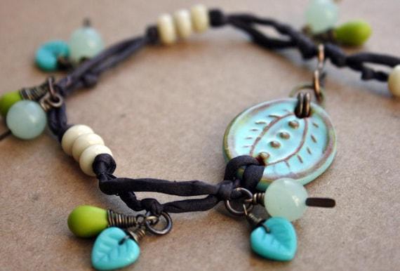 Ceramic Focal Peice Bracelet With Silk and Czech Glass Dangles