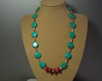 Turquoise, Silver and Red Coral Pendant .925 Silver Necklace