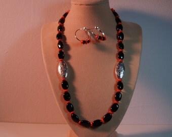 Black Onyx Gemstones, Orange Rondelles,.925 Silver Necklace And Earrings