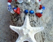 Starfish Patriotic Necklace-Red, White and Blue-Veteran's Day Celebrations