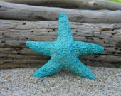Starfish Aqua Turquoise Blue Sparkly Hair Barrette or Clip-MERMAID GLITTER-Beach Weddings, Mermaid Halloween Hair, Starfish, Aqua Blue,