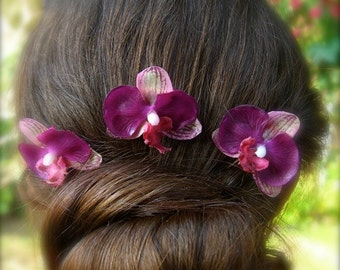 Purple Orchid Flower Hair Pins,Orchid Bobby Pins,Beach Wedding,Bridesmaids Hair Accessories,Hawaiian Hair Flowers,Tropical Hair Clips