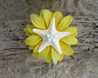 Starfish Daisy Hair Clip Bobby Pin-Yellow-Beach Weddings, Mermaid Hair Clip, Flower Hair, Starfish Hair Clip, Summer Hair Clip