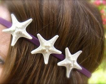Starfish Hair Accessory-Triple Starfish Stretch Headband-Select Color, Beach Weddings, Starfish Weddings, Boho Chic, Trendy, Mermaids