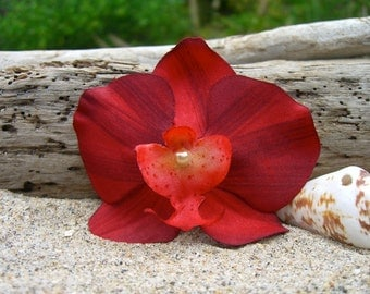 Flower Hair Clip Floral Hair Clip-Exotic Red Orchid Hair Clip