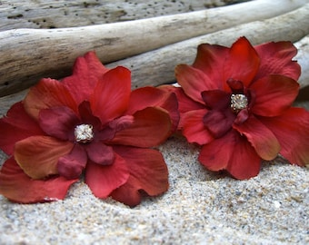 Flower Hair Clips Floral Hair Clips-Shabby Chic Rustic Red-Set of 2
