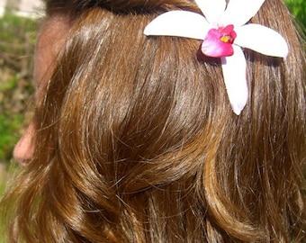 Flower Hair Clip Floral Hair Clip-Tropical Hawaiian Orchid Flower Hair Clip