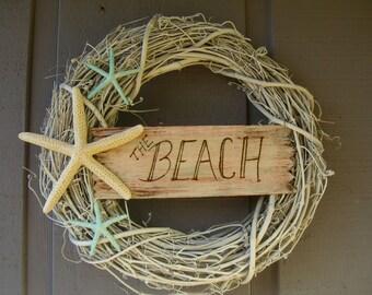 Wreath Beach House Decor Shabby Chic Starfish Wreath,THE BEACH,Hostess Gift, Front Door Wreath, Seashore, Starfish Home Decor