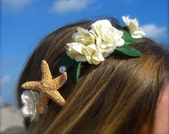 Floral Head Wreath,Starfish Hair,Beach Weddings,Bohemian, Music Festivals, Ivory Woodland Floral, Rustic Weddings,Renaissance Fairs, Beach