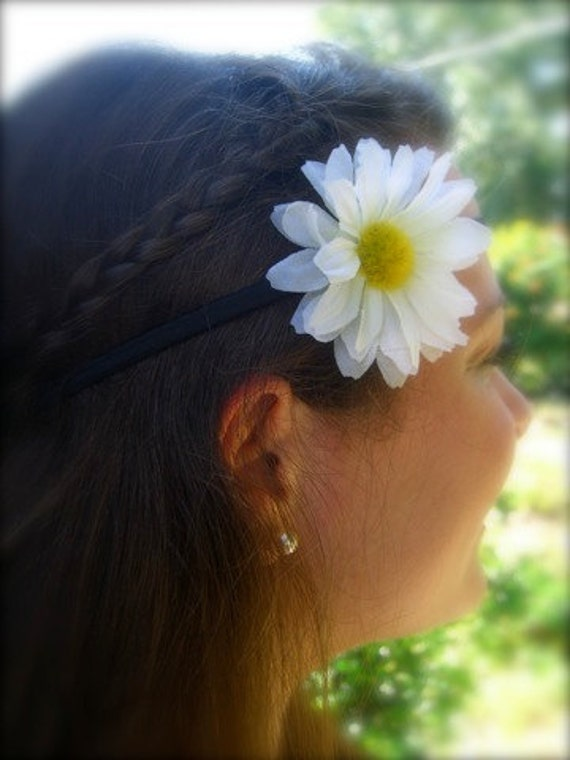 White Daisy Stretch Headband-Flower Hair Headband, Country Chic Weddings, Bohemian Headband, Boho Chic Fashion, Music Festivals, Hippy Style