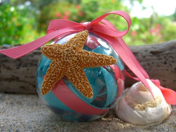 Home Decor Beach-Coral Pink and Mint Aqua Blue Sugar Starfish, Wedding Favors, Party Favors, Housewarming Hostess Gift, Custom