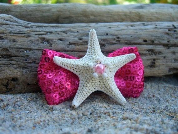Starfish Girls Hair Clip-SHOWGIRL-Starfish Pink Sequin Bow Child/Toddler Mermaid Hair Clip