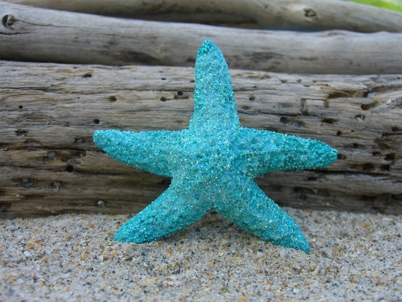 Starfish Aqua Turquoise Blue Sparkly Hair Barrette or Clip-MERMAID GLITTER-Beach Weddings, Mermaid Halloween Hair, Starfish, Aqua Blue,