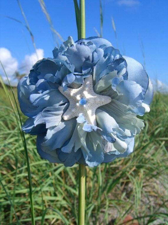 Starfish Floral Hair Clip-SKY BLUE-Starfish Accessory, Starfish, Beach Weddings, Summer Vacation, Mermaids, Something Blue Weddings