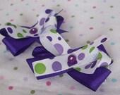 SALE! Pair of Purple and Green Polka Dot Hair Bows, Girls Hair Bows, Toddler Hair Bows, Baby Hair Bows, Unique Hair Bows, Clips, Barrettes