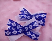 SALE! Pair of Hair Bows- blue and white argyle