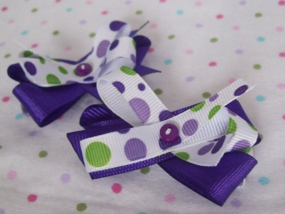 pair of hair bows- white, purple and green polka dots