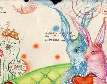 Rabbit Love Postcard