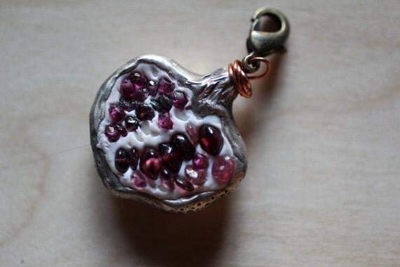 Woodland Pomegranate charm for necklace or bracelet