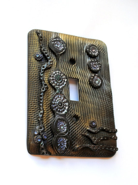 Abstraction 9, one of a kind, light switch cover, switch plate,industrial feel, modern flair, home accessory