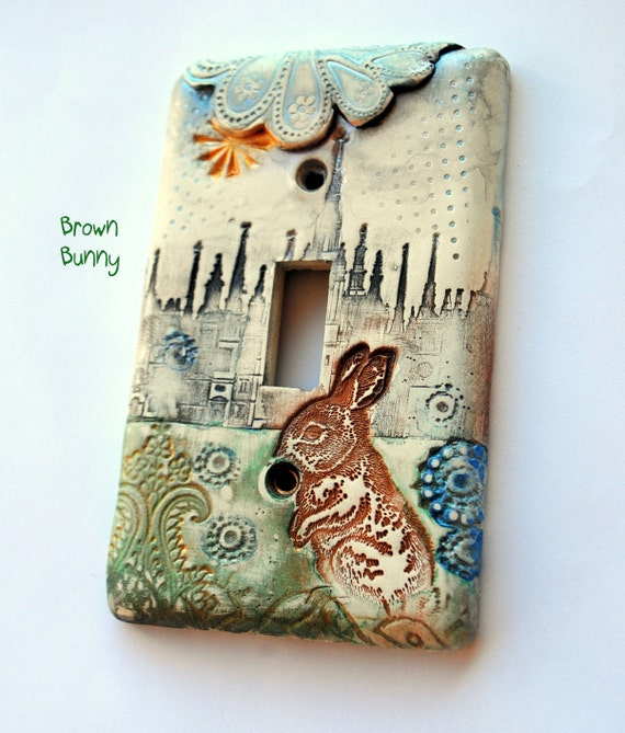 Brown Bunny in Old London town,light switch cover, shabby chic, cottage chic, distressed
