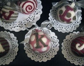 monogram felt ornaments