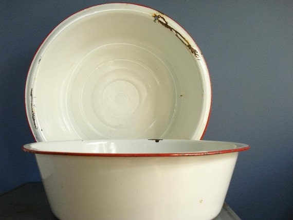 SALE - Red, White, and Bright - Pair of Vintage Enamel Bowls