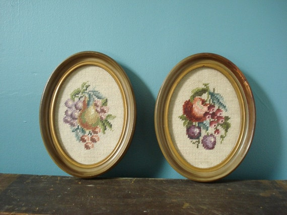 SALE - Sweet Oval Frames - Pair of Vintage Picture Frames - Fruit Embroidery