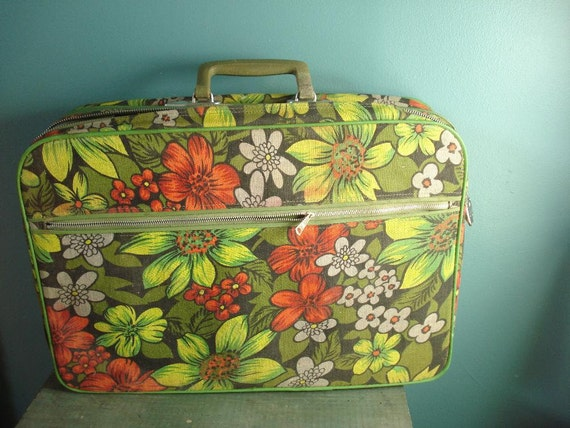 SALE - Away You Go - Vintage Floral Suitcase