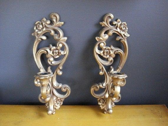 RESERVED - SALE - Swirl-La-La II - Vintage Candle Sconces - Wall Candleholders