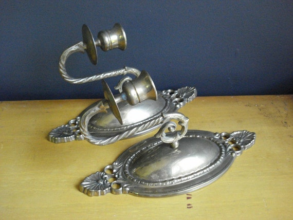 SALE - Brass with Class - Vintage Brass Candle Sconces - Wall Candleholders