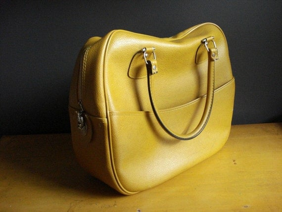 Mustard Yellow Bag It - Vintage Carry-on Luggage or Tote