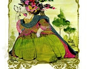 Bjorn Wiinblad - Beautiful Woman in Green