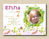 Birthday Girl Photo Invitation - Tulips, Flowers and Butterflies (24) FULL SERVICE - photo editing included.