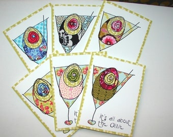 It's All About The Olive - Jeweled Martini Note Cards (12)