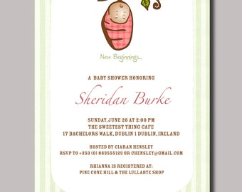 Personalized Silk Pod Baby Cocoon Shower Invitations - Pink Gingham (12)