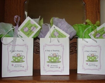 Personalized Gift Bag with tissue and gift tag - A Baby's Brewing or Tea for Two PERSONALIZED Gift bags, Sticker and Tag