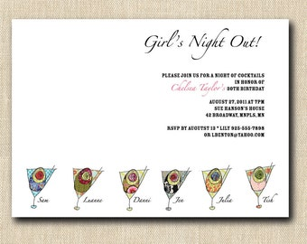 Playful Martini's Girls Night Out Invitation - 12 Personalized Invitations