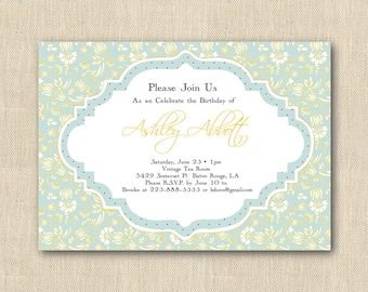 Printable Birthday Party Invitations - Blue and Yellow Floral