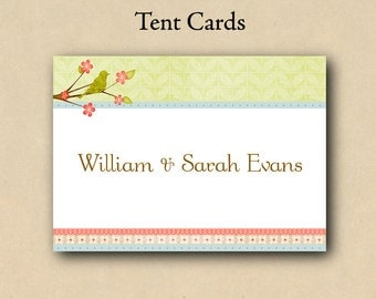 Vintage Bird Tent Cards / Place Cards - Use for place settings, dessert cards, food labeling etc...