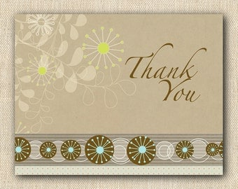 Retro Brown & Aqua Pinwheel Thank You Cards - 12 folded cards